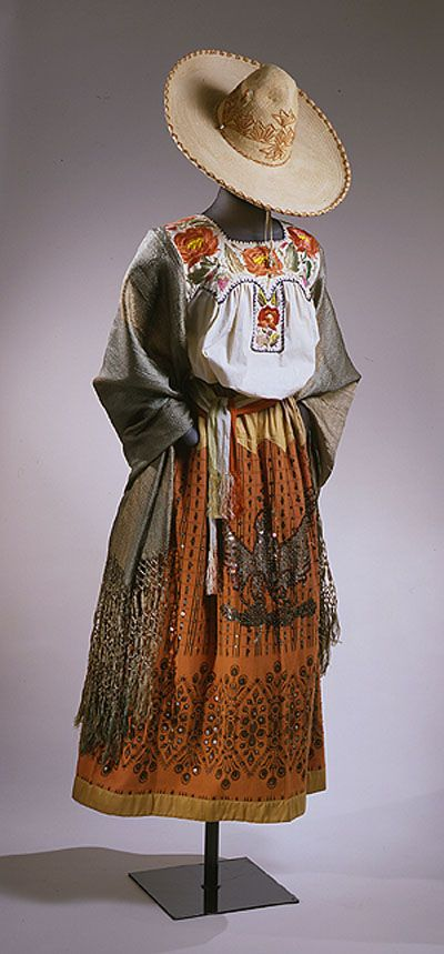 Mexican Textiles at the Newark Museum These are the traditionally accepted costumes or dresses of the various regions of Mexico from generations past up to currently - for more of Mexico visit www.mainlymexican.com #Mexico #Mexican #women #fashion #costume #dress