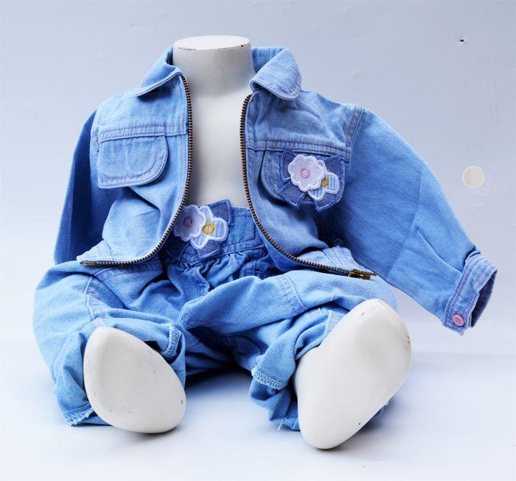 vintage baby jeans spijker jasje en broek katoenen chambray zomer jeans voor baby 9 maanden 1 jaar 18 maanden vintage retro flowerpowerstijl door Smufje op Etsy