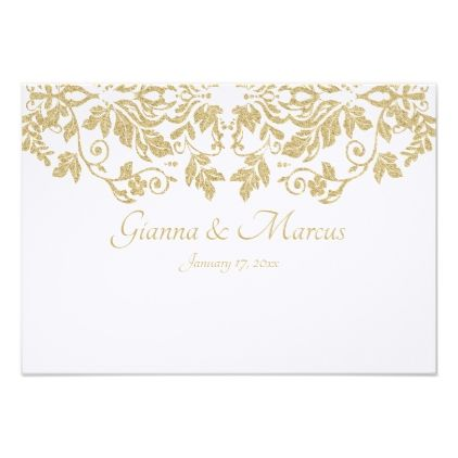 Gold Damask Response Card - invitations personalize custom special event invitation idea style party card cards
