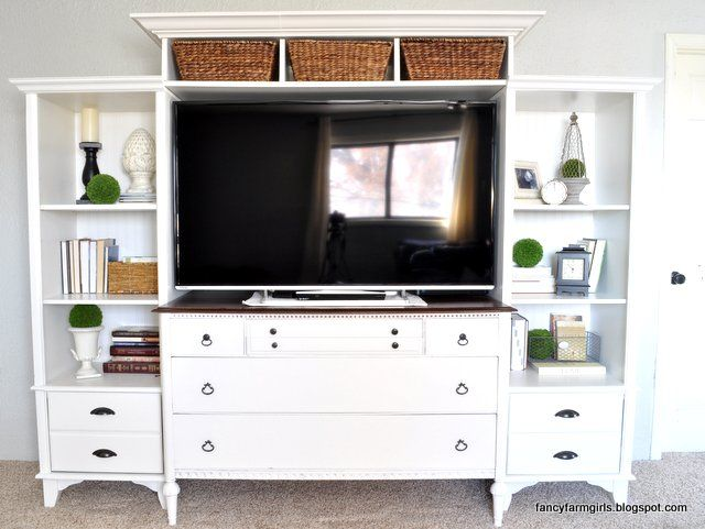 Turning an old dresser and bookshelves into a media center {By the Fancy Farmgirls}