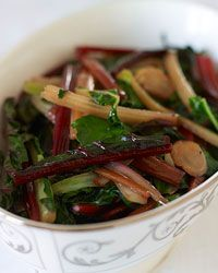Sauteed rainbow chard with garlic and lemon. So good! Perfect example of how great something simple can be. My garlic chips were more fried by the end but it was still good. I actually left the lemon out at first and it was still great! A simple way to cook a wonderful vegetable.