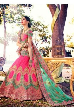 Rose Pink And Pastel Green Lehenga With Gold And Mirror Embroidery