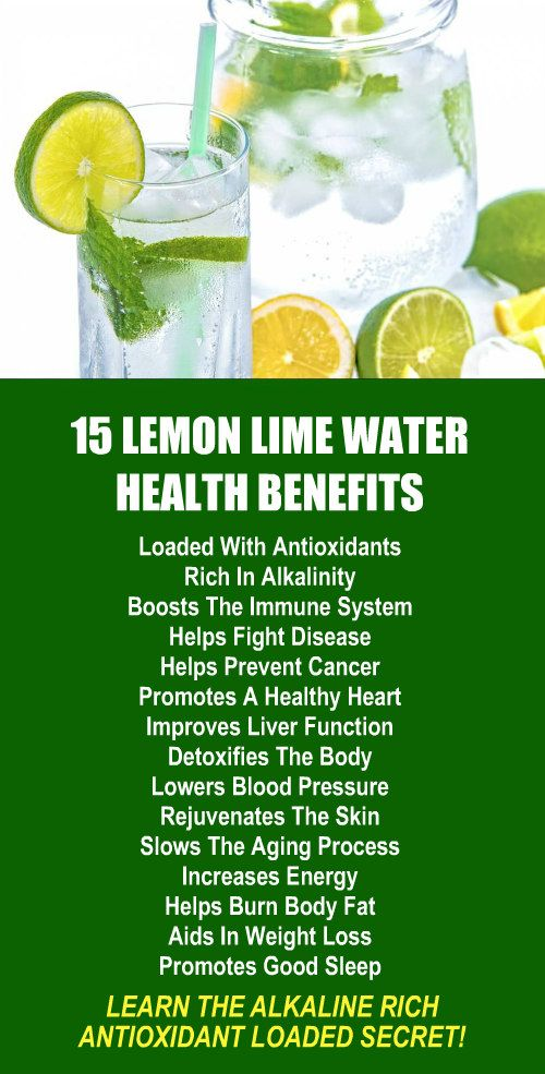 15 Lemon Lime Infused Water Health Benefits. Amplify the effects dramatically by using alkaline rich Kangen Water; the hydrogen rich, antioxidant loaded, ionized water that neutralizes free radicals that cause oxidative stress which can lead to a variety