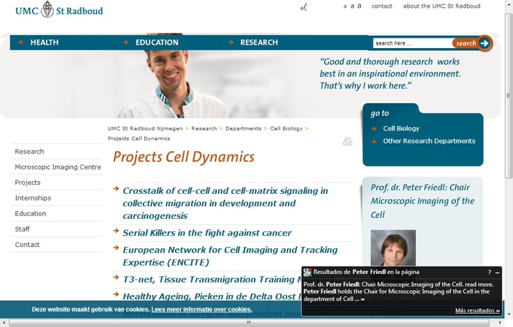 UMC St Radboud Nijmegen-Cell Biology-Projects Cell Dynamics
