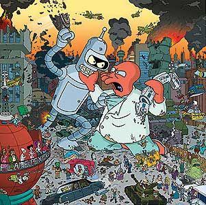 Futurama - Attack - Bender vs Zoidberg - 20th Century Fox - World-Wide-Art.com - $225.00 #Futurama