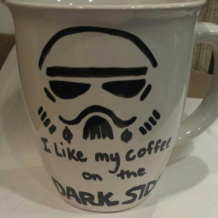 I like my coffee on the dark side Handmade Star Wars Stormtrooper mug, nerdy coffee mug  sharpie mug by OnceABallOfYarn on Etsy https://www.etsy.com/listing/220486832/i-like-my-coffee-on-the-dark-side