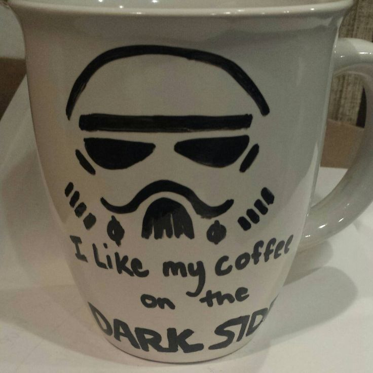 I like my coffee on the dark side Handmade Star Wars Stormtrooper mug, nerdy coffee mug  sharpie mug by OnceABallOfYarn on Etsy https://www.etsy.com/listing/220486832/i-like-my-coffee-on-the-dark-side