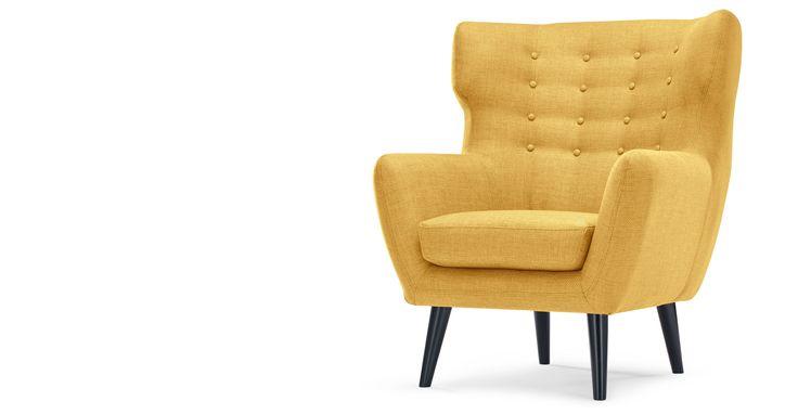 Kubrick fauteuil met gevleugelde rugleuning, okergeel