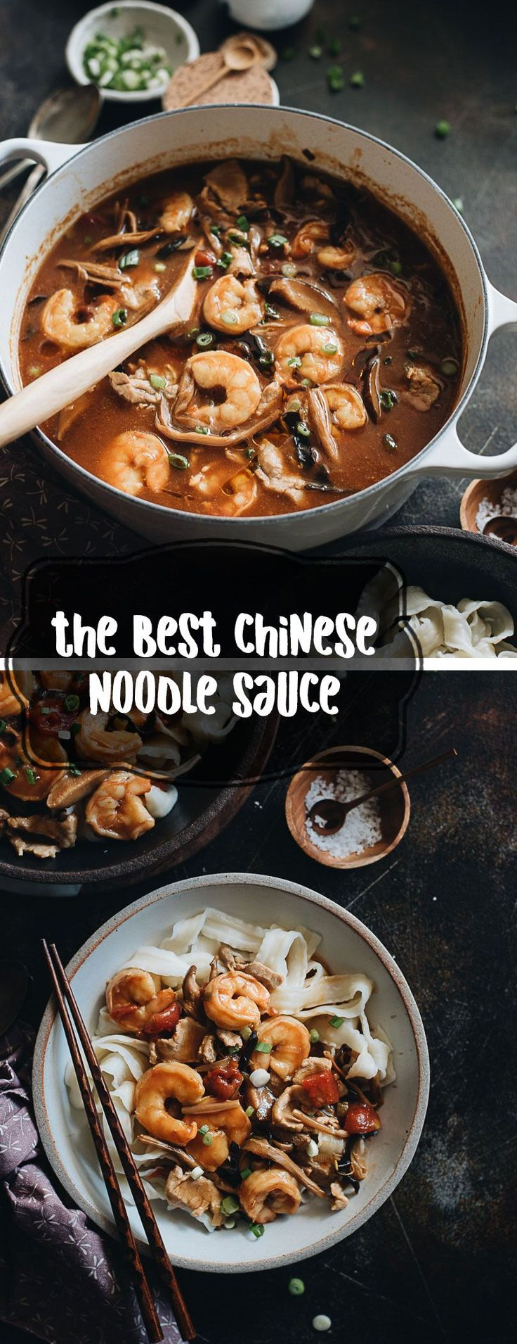 The Best Chinese Noodle Sauce (Da Lu Mian, 打卤面) - These traditional northern-style Chinese noodles are comfort food in the truest sense and a must-cook for Chinese New Year. #chinesefoodrecipes
