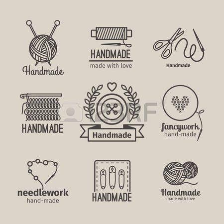 hecho a mano: Hecho a mano la línea Conjunto de la insignia de la vendimia. tarjetas de retro hechos a mano o etiquetas de esquema hechos a mano. Prendas de punto y costura símbolos. ilustración vectorial