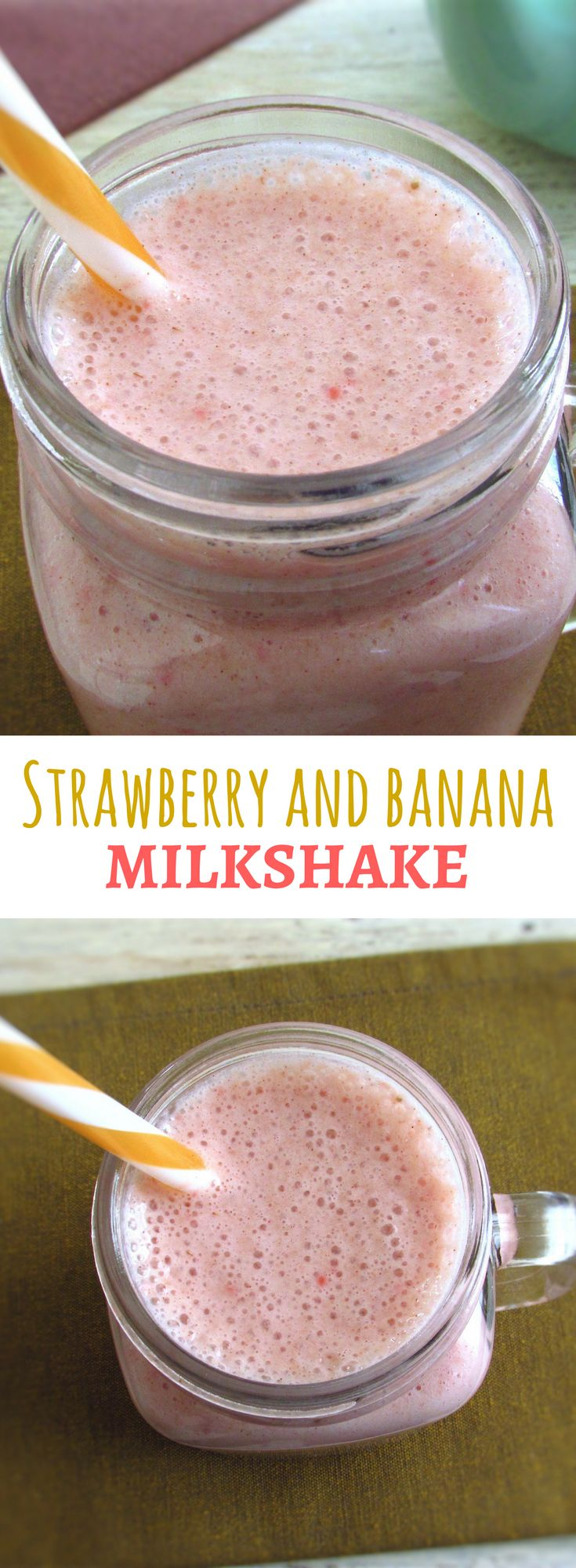 Strawberry and banana milkshake   Food From Portugal. Feel like a nutritious, fresh and tasty drink? Try this delicious strawberry and banana milkshake. Gonna love it! #milkshake #strawberry #banana #recipe
