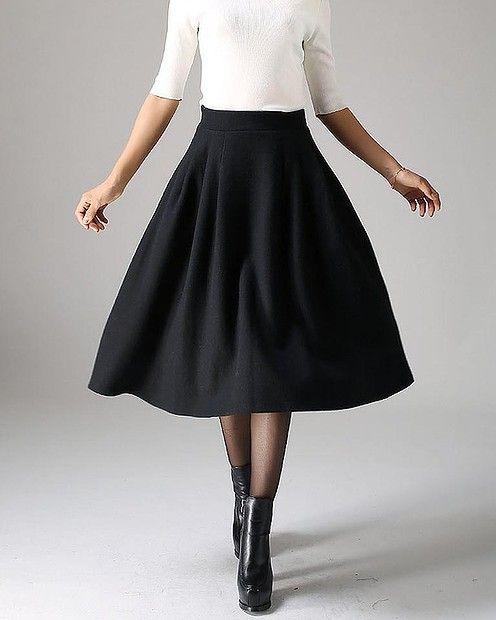 Midi black wool skirt, $57.48 from #Xiaolizi #Etsy