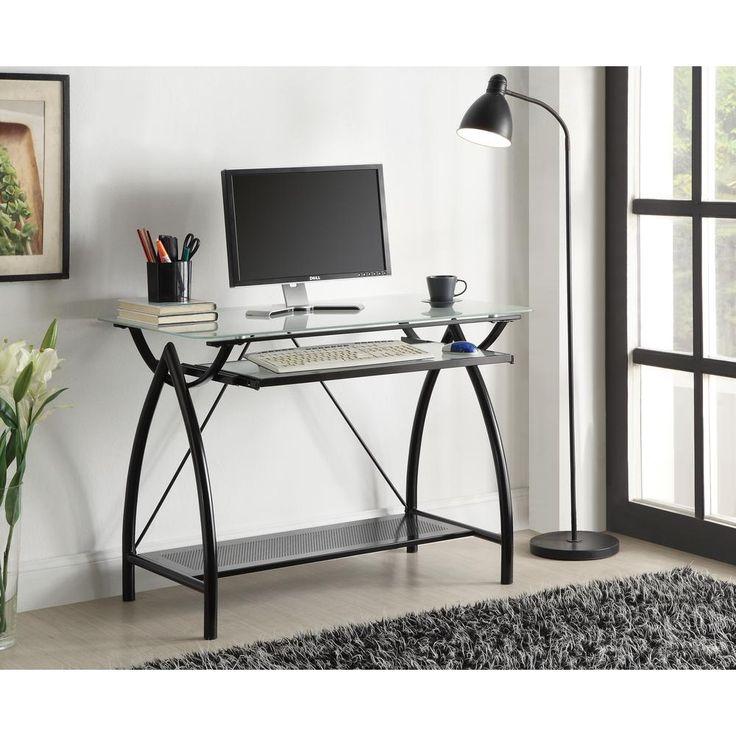 Newport Black Glass-top Computer Desk