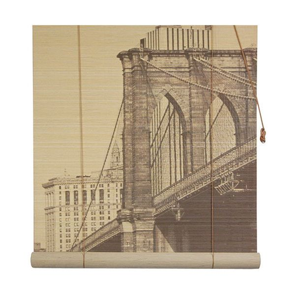 Oriental Furniture Multi-Colored 36-Inch Wide Brooklyn Bridge Bamboo... ($39) ❤ liked on Polyvore featuring home, home decor, window treatments, window blinds, window shades, bamboo blinds, window coverings and asian inspired home decor