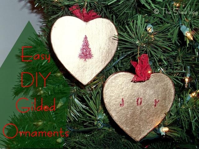 the shed blog easy diy gilded ornaments using martha. Black Bedroom Furniture Sets. Home Design Ideas