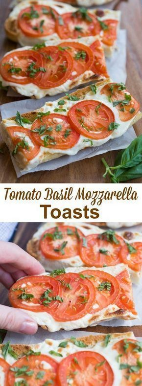 Everyone always LOVES these delicious and simple Tomato Basil Mozzarella Toasts. Serve them as a side dish or appetizer. A crusty baguette toasted with fresh mozzarella and tomato and garnished with basil. | tastesbetterfromscratch.com
