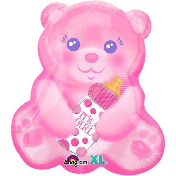 Poze Balon folie figurina Ursulet Roz cu Biberon 38 x 40cm