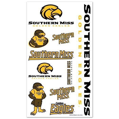 SOUTHERN MISS GOLDEN EAGLES OFFICIAL TEMPORARY TATTOO by WinCraft. $5.94. Top Quality, Manufactured by Wincraft. Officially licensed by the NCAA. Officially licensed by the Southern Miss Golden Eagles. You get a variety of cool temporary tattoos in this set. Varying sizes perfect for the arms, chest and face. Easy to apply. Takes only about 30 seconds. Easy to remove using rubbing alcohol or baby oil. Vibrant colors and crisp graphics. Official team logos and colors. Offi...