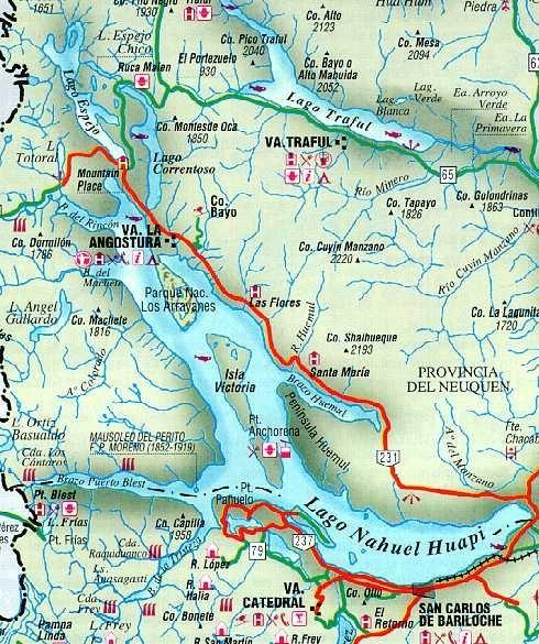 Mapa de Villa la Angostura