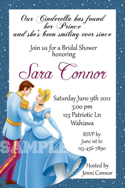 Cinderella Bridal Shower invite...not this corny though
