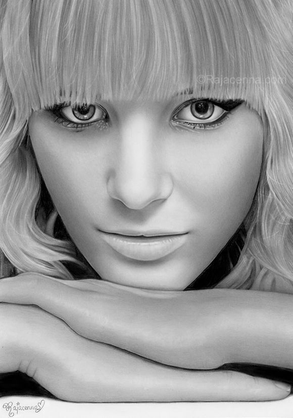 Realistic pencil drawings - art by a teenage girl named Rajacenna.  Stunning.