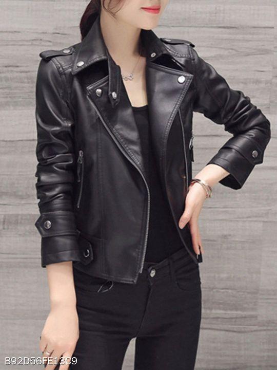 09129e57fd26 Black Lapel Zips PU Leather Biker Jacket fashion,  women,fashion,fashionable,stylish