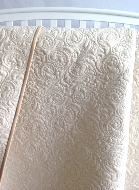 Whole Cloth Baby Quilt in Ivory Custom Quilt Heirloom Christening Baptism Quilt Solid Ivory White