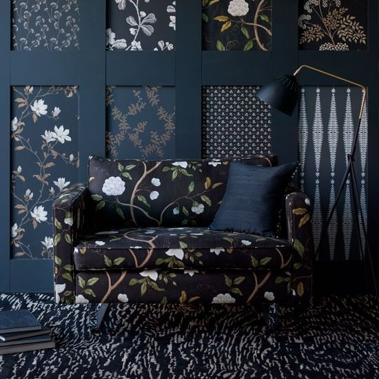 Luv Black... sweet way to use wall paper and wood to dress up an area.
