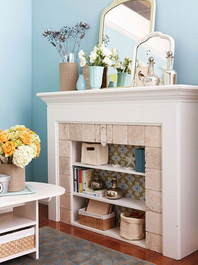 Wallpaper +  bookcase | 15 Ways to Decorate Your Non-Working Fireplace