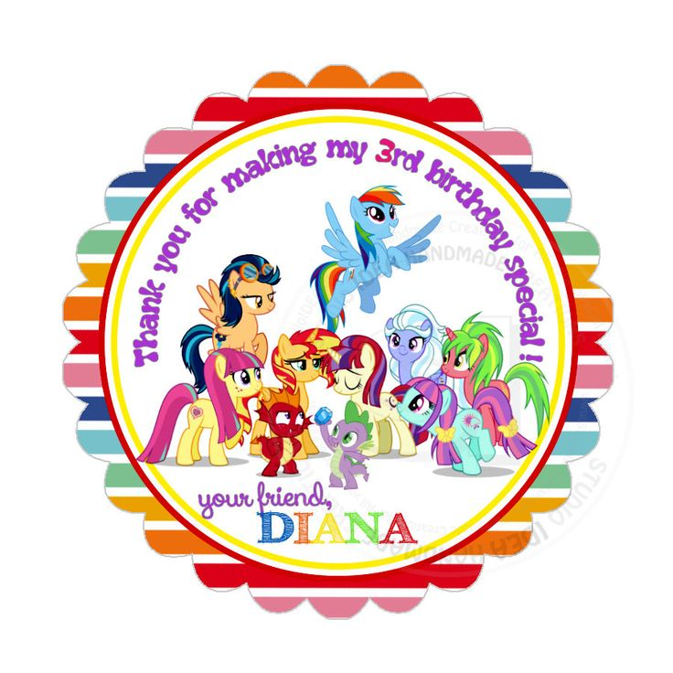 "Custom My Little Pony Thank you 2.5"" round Stickers-Little Pony photo quality Glossy Stickers-Colorful Baby Shower, Birthday Thank you Tags by StudioIdea on Etsy"