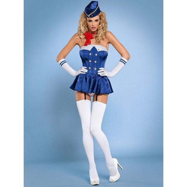 6 częściowy kostium stewardessy Obsessive http://sexshop112.pl/87-kostiumy-przebrania-erotyczne