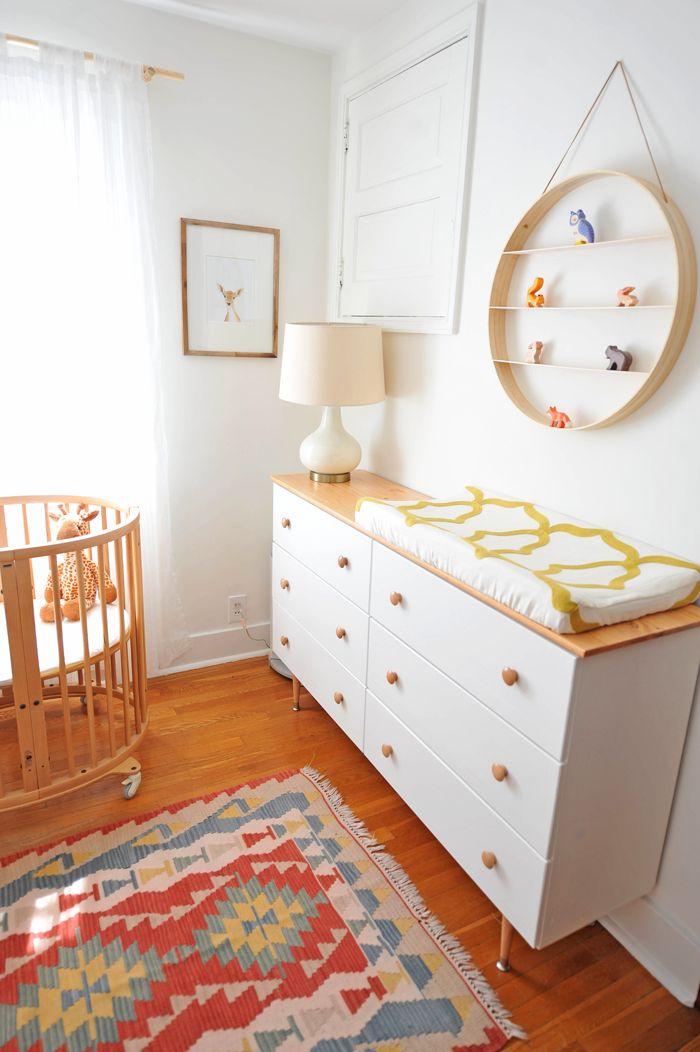 Modern Colorful Baby Girl Nursery | DIY Ikea Tarva Hack
