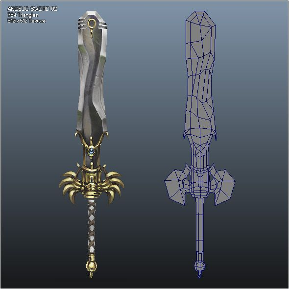 Low Poly Crusader Angelic Sword 02 - $16