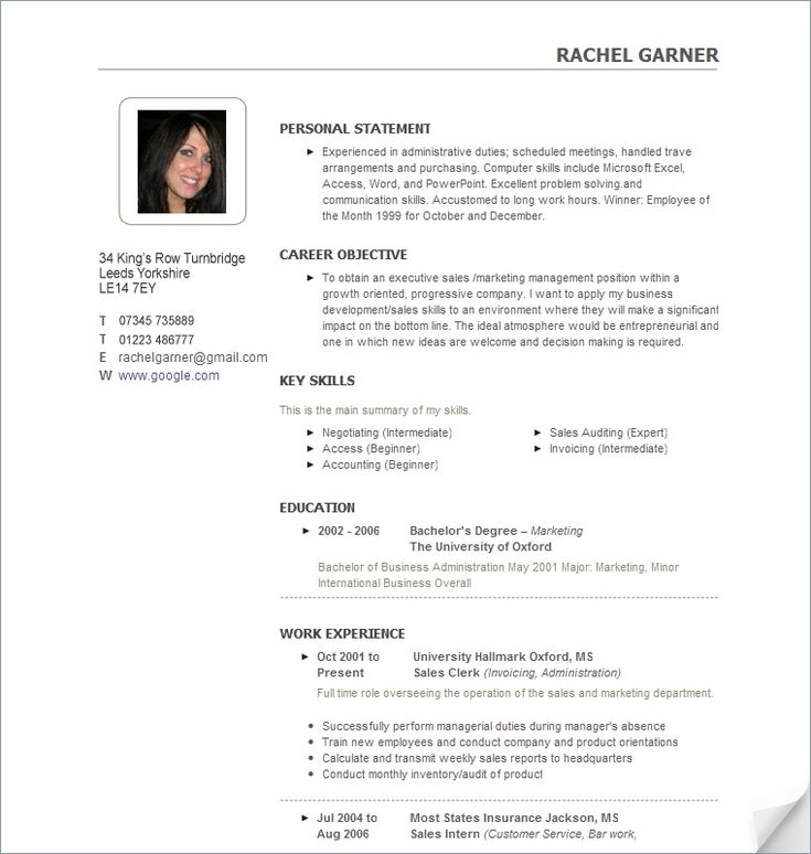 47 best RESUME images on Pinterest Free resume, Resume and - Example Of Personal Resume