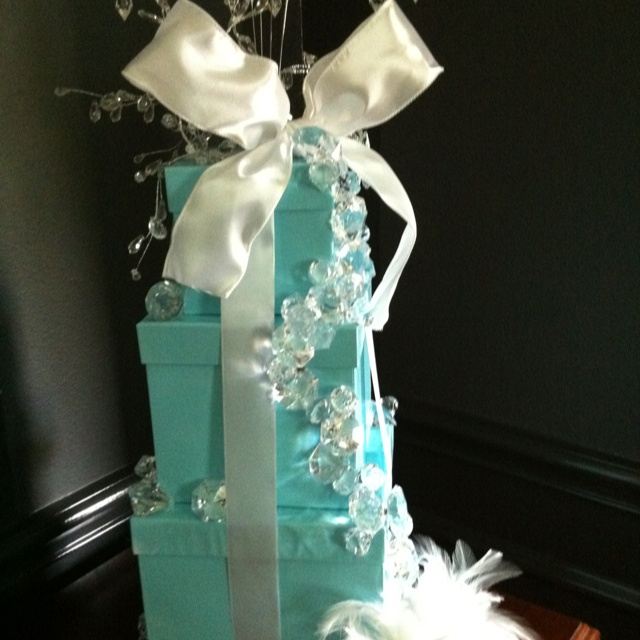 """The """"Breakfast at Tiffany's"""" themed centerpiece I made for my daughters graduation party."""