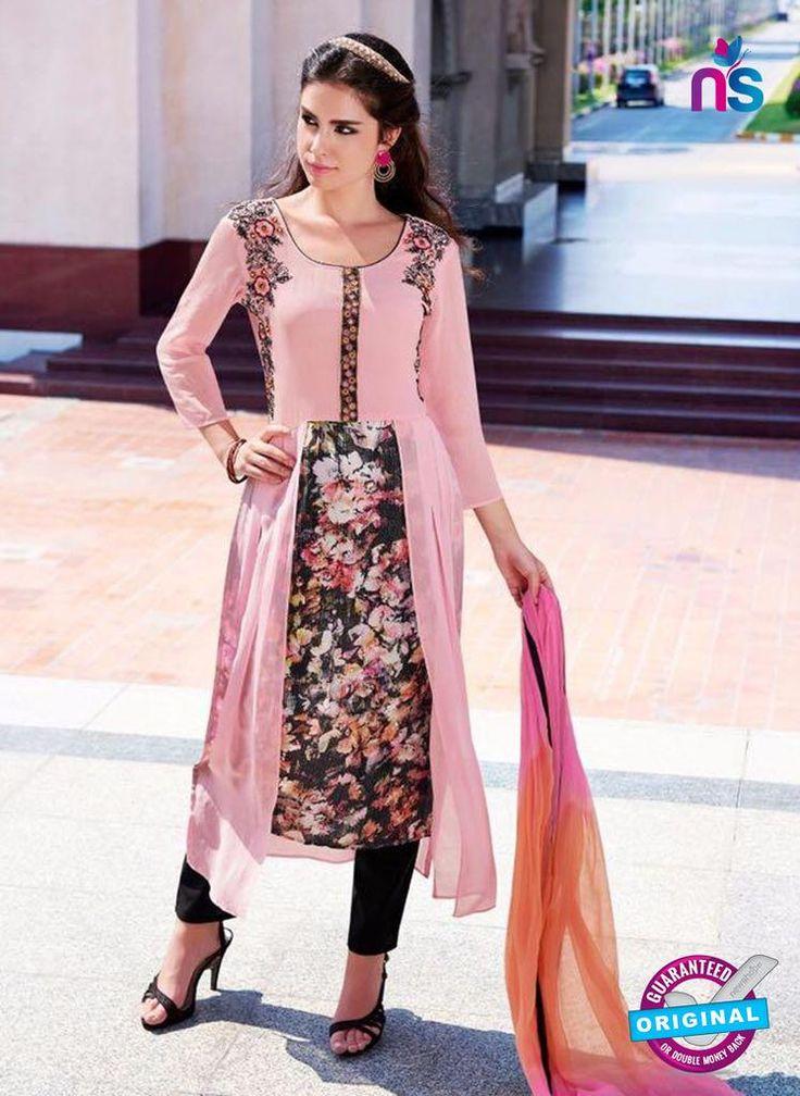 Teazle 2208 Pink and Black Embroiderd Georgette Designer Suit