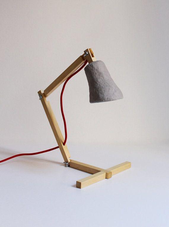 Wooden desk lamp Metamorfozis II No 12 paper mache by CreaReDesign, €69.00