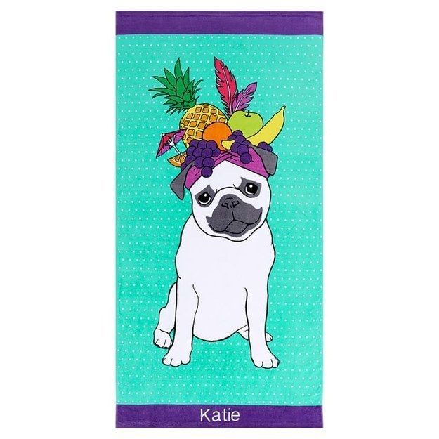 A personalized pug towel that'll get you ready for picnic season.