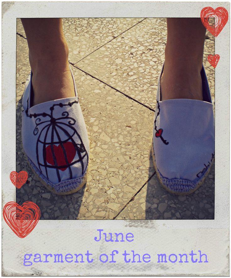 June - garment of the month Espadrillas in attesa dell'estate... ☀ Buona giornata a tutti -rfr®- #scarpe #espadrilla #dipinteamano #artiganato #madeinitaly #heart #shoes #handpainted #handcraft