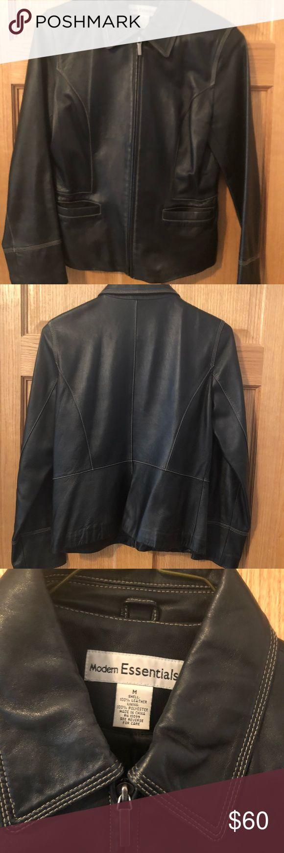 Ladies Black Leather Jacket Soft 100% Leather, White stitching, pockets. Jackets & Coats