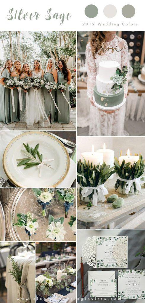 romantische rustikale silberne Salbeigarten-Hochzeitsfarbinspiration  #hochzeits…