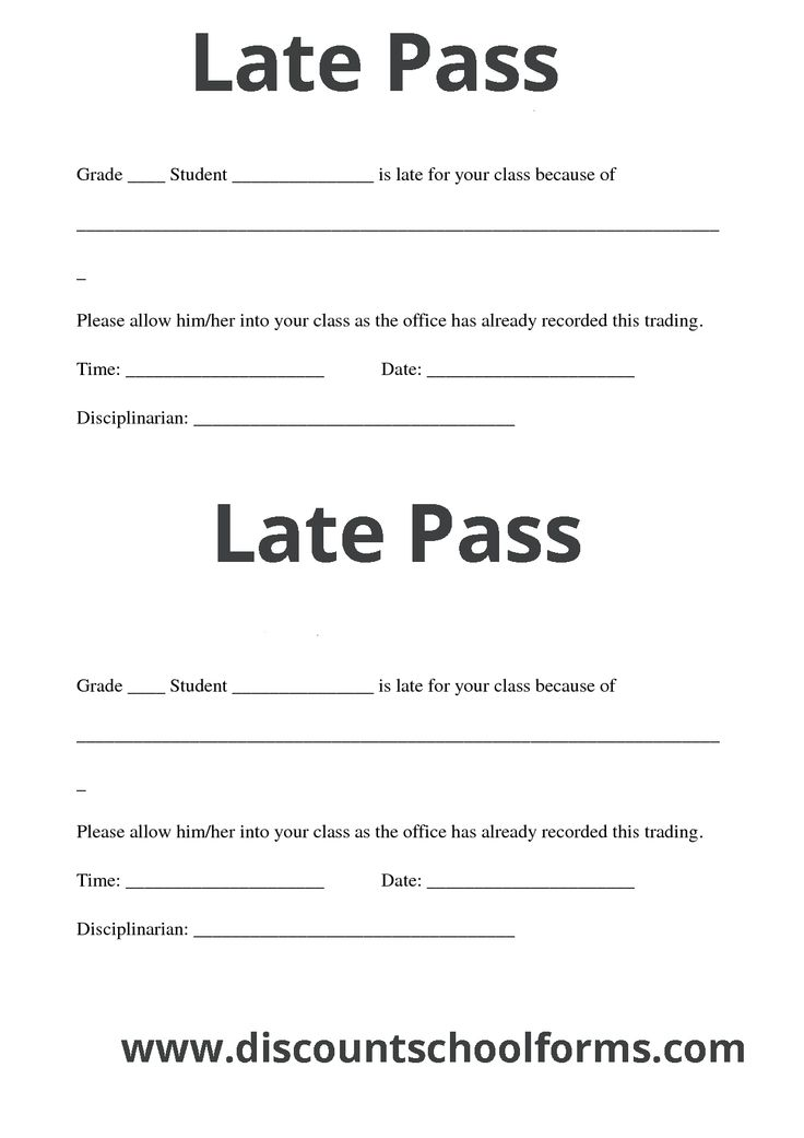 Discount School Forms printing Services like Late pass ...