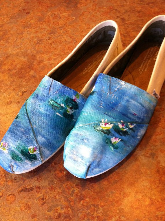 Monets Waterlilies Hand Painted TOMS