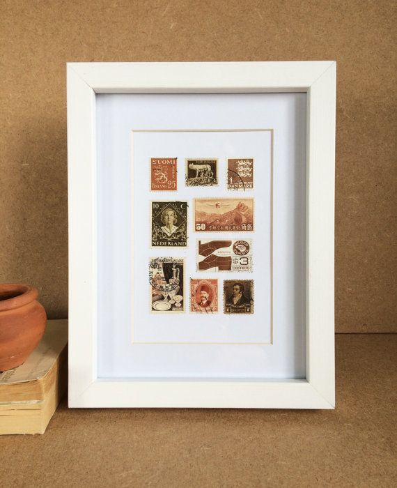 Vintage Framed Stamp Wall Art  Sepia by Bettyandbetts on Etsy