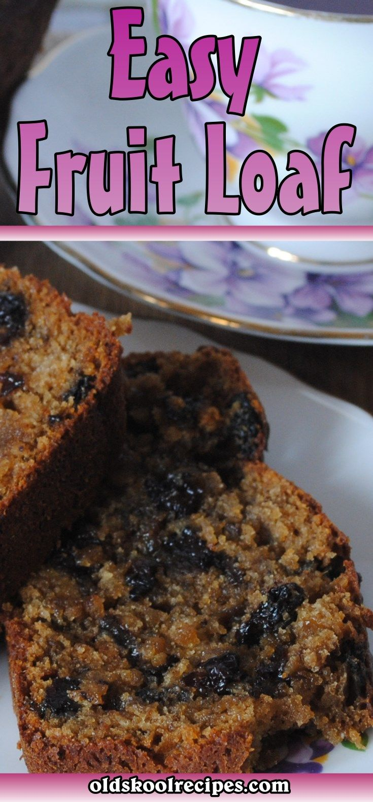 Easy Fruit Loaf Recipe - Old Skool Recipes  This Fruit Loaf recipe is really easy to make.  This Fruit Loaf recipe is a really quick to make.  The Fruit Loaf recipe freezes very well too.  Invite your friends along and enjoy a slice for dessert today, perfect with tea or coffee!