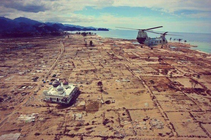 Subhanallah. Masjid in Aceh left standing after the Tsunami striked.