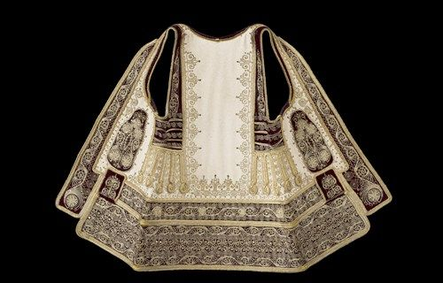 Bridal sigouni (sleeveless coat) detail: Vertical embroidery of the back from the height of the neck to the bottom  , Museum of Greek Folk Art