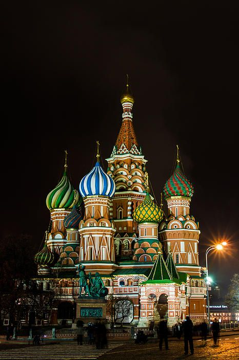 """Vasily The Blessed Cathedral At Night - Featured 3"" by Alexander Senin"