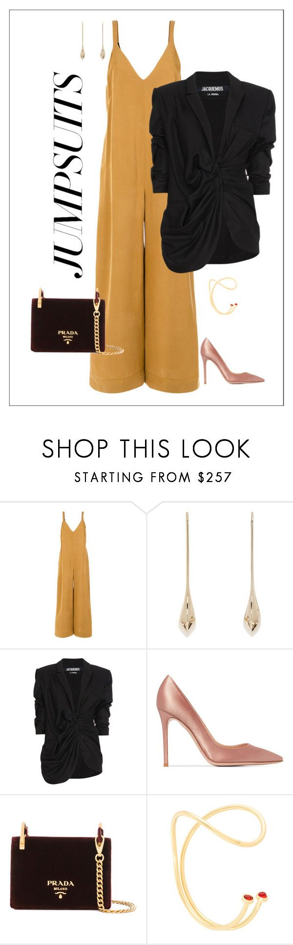 """""""Sem título #180"""" by gstvcbrl ❤ liked on Polyvore featuring Andrea Marques, Lemaire, Jacquemus, Gianvito Rossi, Prada, Paula Mendoza and jumpsuits"""