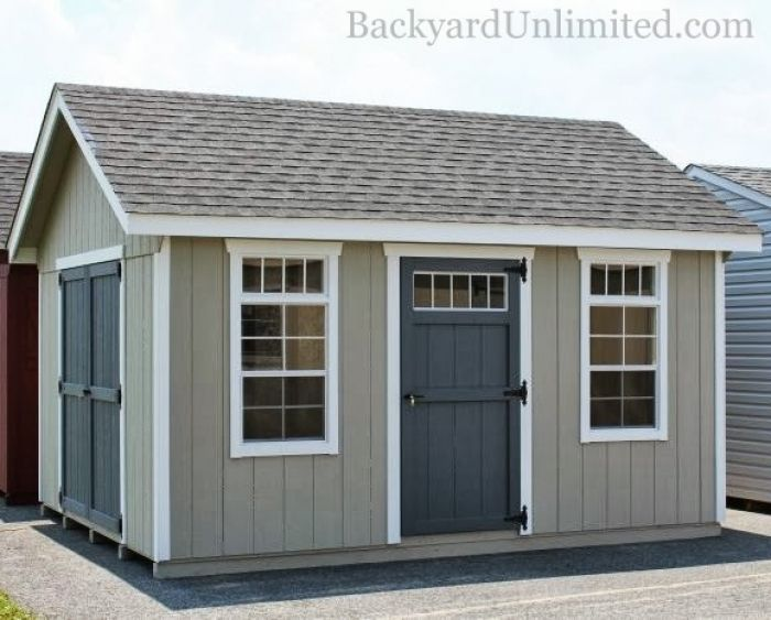12x14 Garden Shed With Additional Single Transom Door Windows And Color
